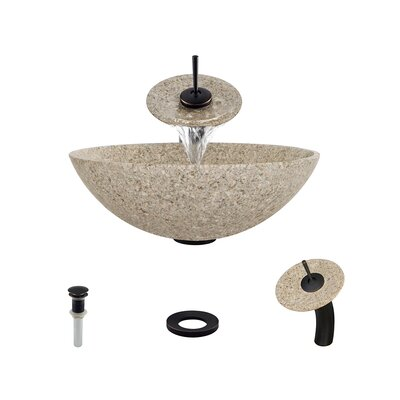 Stone Circular Vessel Bathroom Sink with Faucet Sink Finish: Tan, Faucet Finish: Antique Bronze