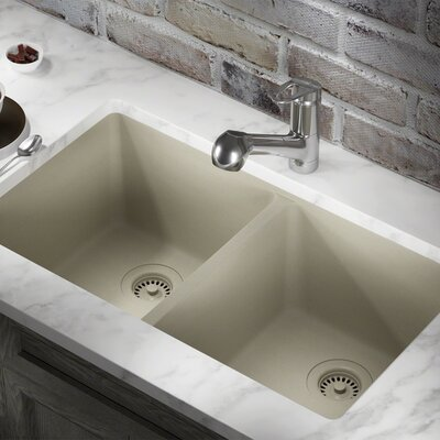 Granite Composite 32 x 19 Double Basin Undermount Kitchen Sink with Strainers and Flange Finish: Slate