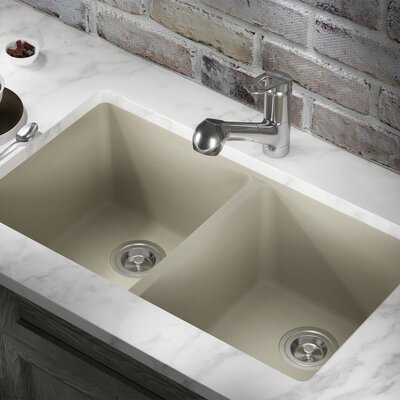 Granite Composite 32 x 19 Double Basin Undermount Kitchen Sink with Basket Strainers Finish: Slate