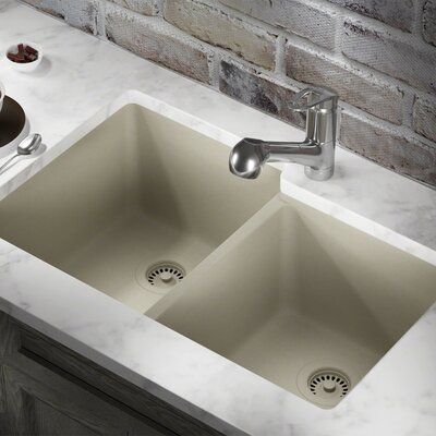Granite Composite 32 x 20 Double Basin Undermount Kitchen Sink with Strainer and Flange Finish: Slate