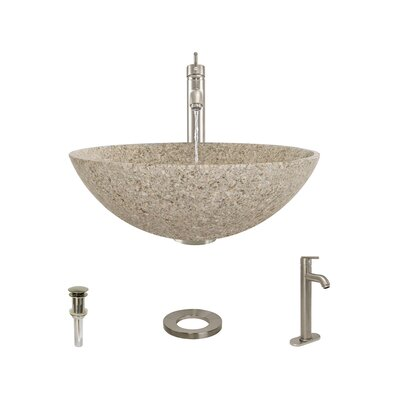 Stone Circular Vessel Bathroom Sink with Faucet Sink Finish: Tan, Faucet Finish: Brushed Nickel