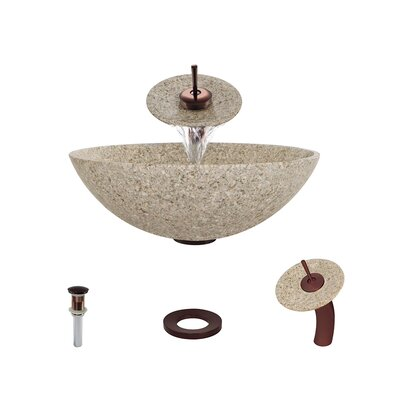 Stone Circular Vessel Bathroom Sink with Faucet Sink Finish: Tan, Faucet Finish: Oil Rubbed Bronze