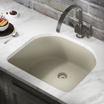 Granite Composite 25 x 22 Undermount Kitchen Sink with Flange Finish: Slate