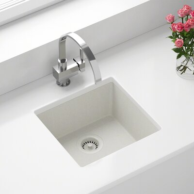 Granite Composite 18 X 17 Undermount Kitchen Sink with Strainer Finish: White