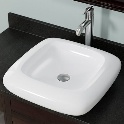 Pillow Top Vitreous China Square Vessel Bathroom Sink Sink Finish: White