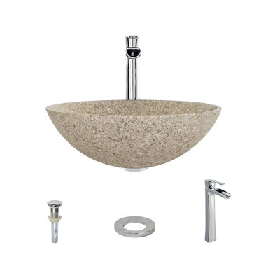 Stone Circular Vessel Bathroom Sink with Faucet Sink Finish: Tan, Faucet Finish: Chrome