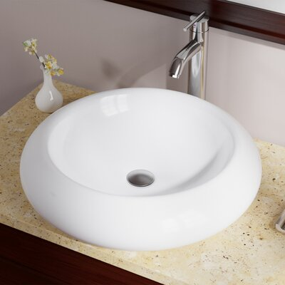 Pillow Top Vitreous China Circular Vessel Bathroom Sink Sink Finish: White