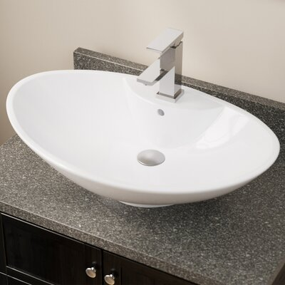 Vitreous China Oval Vessel Bathroom Sink with Overflow Sink Finish: White