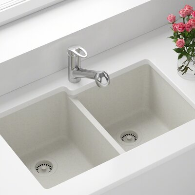 Granite Composite 32 x 20 Double Basin Undermount Kitchen Sink with Strainer and Flange Finish: White