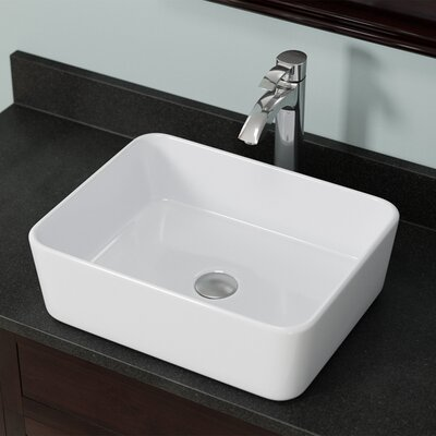 Pillow Top Vitreous China Rectangular Vessel Bathroom Sink Sink Finish: White