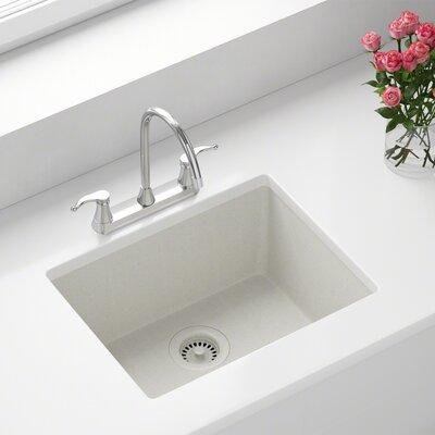 Granite Composite 22 x 17 Undermount Kitchen Sink with Flange Finish: White