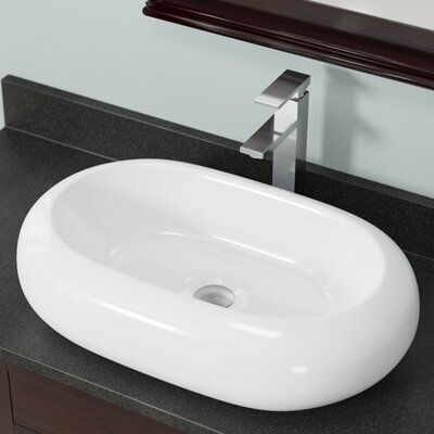 Pillow Top Vitreous China Oval Vessel Bathroom Sink Sink Finish: White