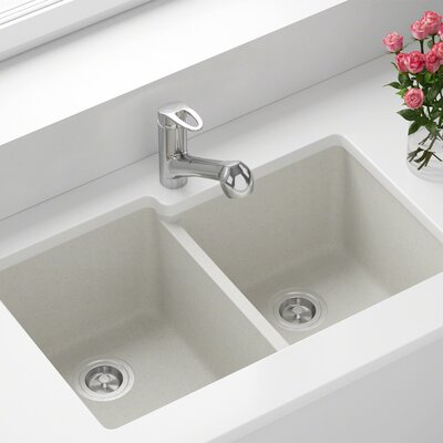 Granite Composite 32 x 20 Double Basin Undermount Kitchen Sink Finish: White