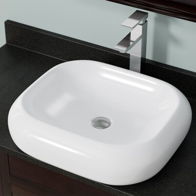 Pillow Top Vitreous China Rectangular Vessel Bathroom Sink Sink Finish: White