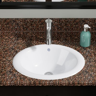 Vitreous China Oval Drop-In Bathroom Sink with Overflow Sink Finish: White