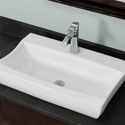 Vitreous China Rectangular Vessel Bathroom Sink Sink Finish: White