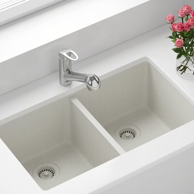 Granite Composite 32 x 19 Double Basin Undermount Kitchen Sink with Strainers and Flange Finish: White