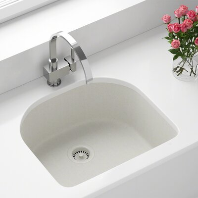 Granite Composite 25 x 22 Undermount Kitchen Sink with Strainers Finish: White