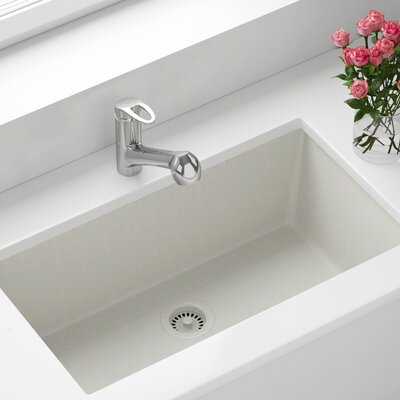 Granite Composite 33 x 18 Undermount Kitchen Sink With Strainer Finish: White