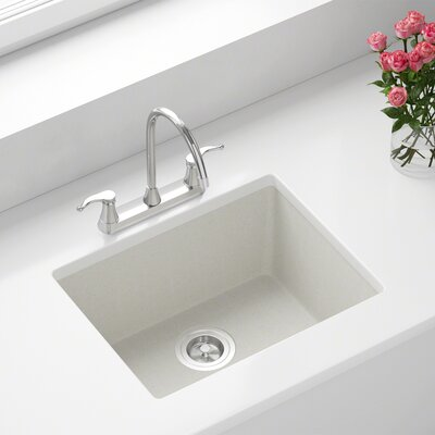 Granite Composite 22 x 17 Undermount Kitchen Sink with Basket Strainer and Drain Assembly Finish: White