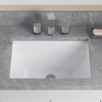 Vitreous China Rectangular Vessel Bathroom Sink with Overflow Sink Finish: White