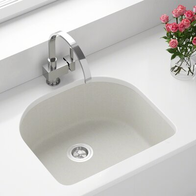 Granite Composite 25 x 22 Undermount Kitchen Sink with Basket Strainer Finish: White