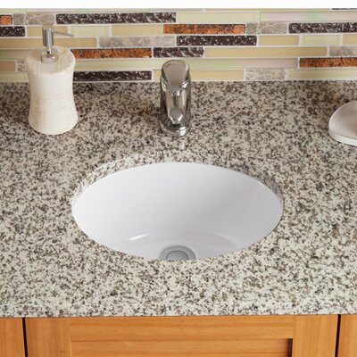 Stone Oval Undermount Bathroom Sink with Overflow Sink Finish: White