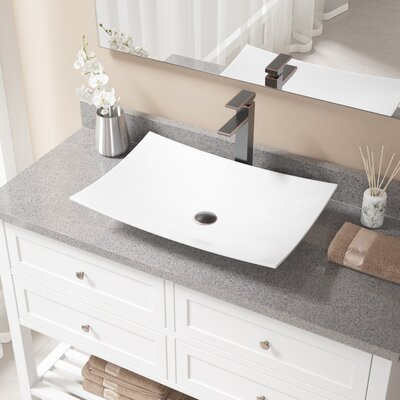 Rectangualr Vitreous China Rectangular Vessel Bathroom Sink with Faucet Sink Finish: White, Faucet Finish: Antique Rubbed Bronze