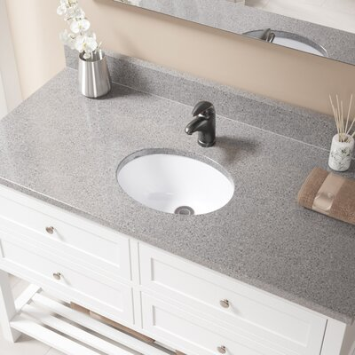 Glass Oval Undermount Bathroom Sink with Overflow Sink Finish: White, Drain Finish: Antique Rubbed Bronze
