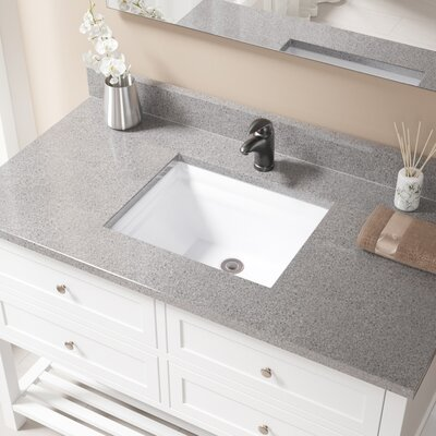Vitreous China Rectangular Vessel Bathroom Sink with Overflow Sink Finish: White, Drain Finish: Antique Rubbed Bronze