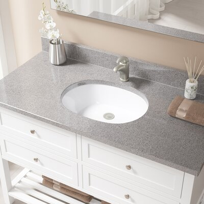 Vitreous China Oval Undermount Bathroom Sink with Overflow Sink Finish: White, Drain Finish: Brushed Nickel