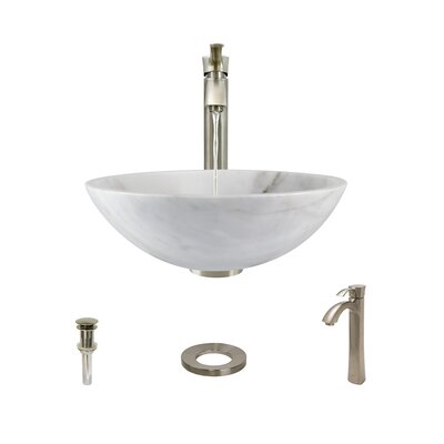 Stone Circular Vessel Bathroom Sink with Faucet Sink Finish: White, Faucet Finish: Brushed Nickel