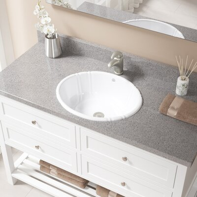 Vitreous China Oval Drop-In Bathroom Sink with Overflow Sink Finish: White, Drain Finish: Brushed Nickel