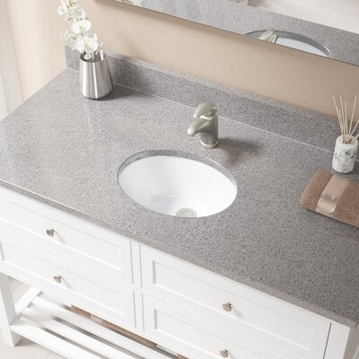 Glass Oval Undermount Bathroom Sink with Overflow Sink Finish: White, Drain Finish: Brushed Nickel