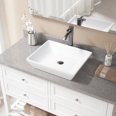 Vitreous China Rectangular Vessel Bathroom Sink with Faucet Sink Finish: White, Faucet Finish: Antique Rubbed Bronze