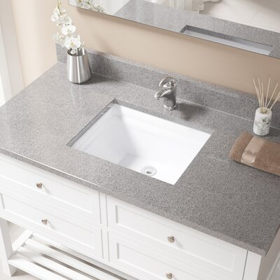 Vitreous China Rectangular Vessel Bathroom Sink with Overflow Sink Finish: White, Drain Finish: Chrome