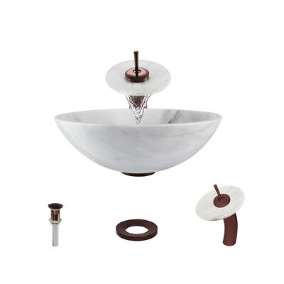 Stone Circular Vessel Bathroom Sink with Faucet Sink Finish: White, Faucet Finish: Oil Rubbed Bronze
