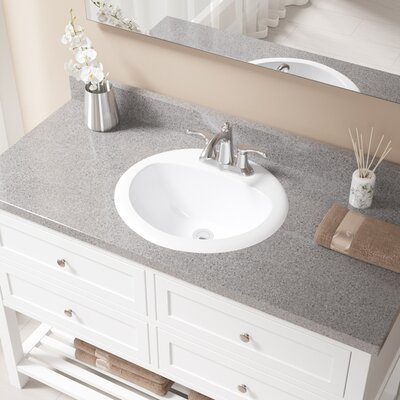 Vitreous China Oval Drop-In Bathroom Sink with Overflow Sink Finish: White, Drain Finish: Chrome
