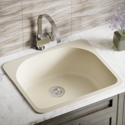 Granite Composite 25 x 22 Drop-In Kitchen Sink with Basket Strainer Finish: Beige