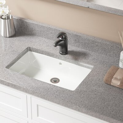 Rectangular Undermount Bathroom Sink With Overflow Sink Finish: Bisque, Drain Finish: Antique Rubbed Bronze