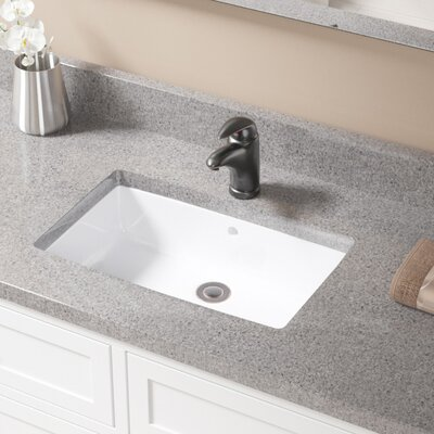 Rectangular Undermount Bathroom Sink With Overflow Sink Finish: White, Drain Finish: Antique Rubbed Bronze
