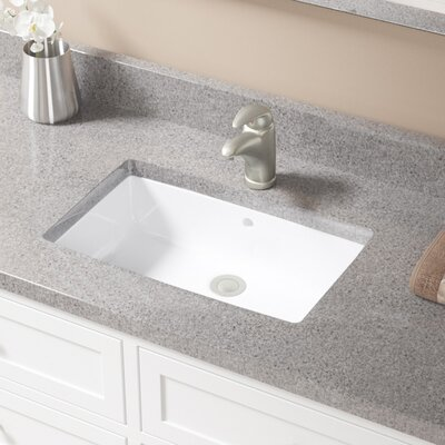 Rectangular Undermount Bathroom Sink With Overflow Sink Finish: White, Drain Finish: Brushed Nickel
