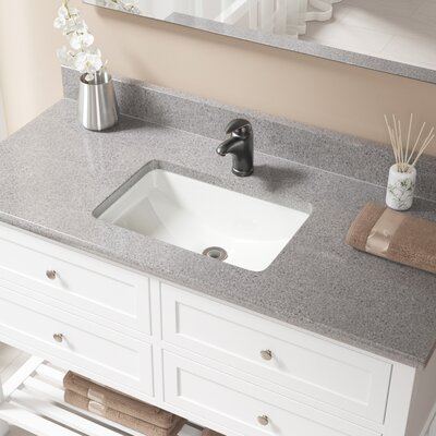 Vitreous China Rectangular Undermount Bathroom Sink with Overflow Sink Finish: Bisque, Drain Finish: Antique Rubbed Bronze
