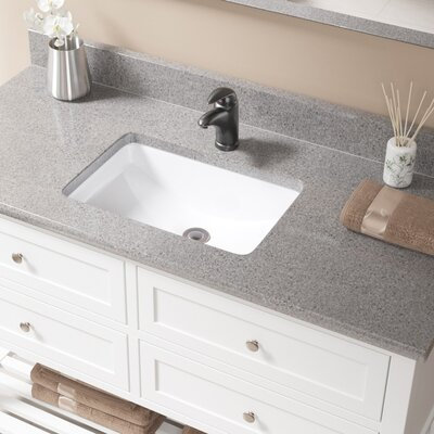 Vitreous China Rectangular Undermount Bathroom Sink with Overflow Sink Finish: White, Drain Finish: Antique Rubbed Bronze