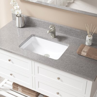 Vitreous China Rectangular Undermount Bathroom Sink with Overflow Sink Finish: White, Drain Finish: Brushed Nickel
