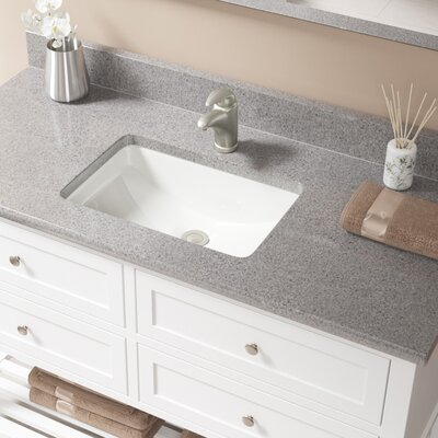 Vitreous China Rectangular Undermount Bathroom Sink with Overflow Sink Finish: Bisque, Drain Finish: Brushed Nickel