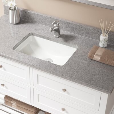 Vitreous China Rectangular Undermount Bathroom Sink with Overflow Sink Finish: Bisque, Drain Finish: Chrome