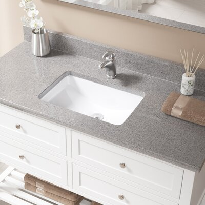Vitreous China Rectangular Undermount Bathroom Sink with Overflow Sink Finish: White, Drain Finish: Chrome