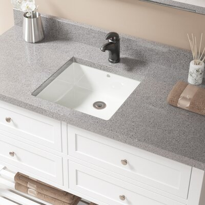 Vitreous China Square Undermount Bathroom Sink with Overflow Sink Finish: Bisque, Drain Finish: Antique Rubbed Bronze