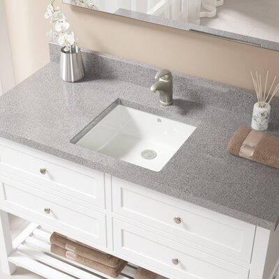 Vitreous China Square Undermount Bathroom Sink with Overflow Sink Finish: Bisque, Drain Finish: Brushed Nickel